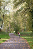 Early Fall on the Bike Trail. A lone bicycle rider disappears down the bike trail at Alton Baker Park in Eugene Oregon Stock Photos