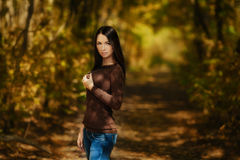 Early fall. Brunette portrait Stock Image