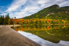 Early fall colors and reflections at Echo Lake,  in Franconia No Stock Photography