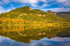 Early fall reflections at  Echo Lake, in Franconia Notch State P Royalty Free Stock Photo
