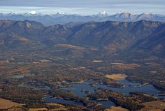 Early Fall in the Rocky Mountains. Aerial view of early Fall in the Northern Rocky Mountains Stock Image