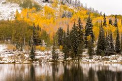 Early Fall Snow at Silver Lake by Brighton Ski Resort. This picture captures an early snowfall up Big Cottonwood Canyon at Silver Lake in the fall royalty free stock photography