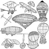Early flying machines. Sketch of different early flying machines over white background Stock Photo