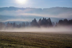 Early fogy autumn morning on the Czech Austrian border Royalty Free Stock Image
