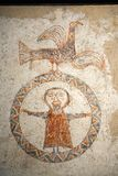 Early fresco images of Jesus in circle at Museum at Solsona, Cataluna, Spain, Museu Dioces� i Comarcal containing Romanesque pai Royalty Free Stock Photos