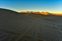 Early golden sunlight in the sand dunes morning California, USA royalty free stock images