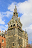 Early Gothic arhitecture of Healy Hall tower at autumn afternoon. Royalty Free Stock Photo