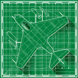 Early jet fighter blueprint vector illustration