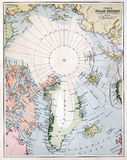 Early Map of the North Pole Region. Vintage circumpolar map of the North Pole area, dated 1880 stock photo
