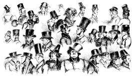 Early '800 men hat caricatures, fashion illustrated Stock Photo