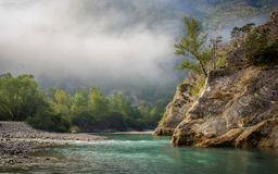 Early mist over river Verdon in France stock image