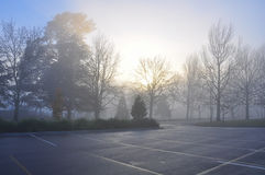 Early misty morning - Empty carpark. Quiet misty morning, sunrise and empty carpark royalty free stock images