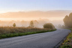 Early misty morning landscape in Poland Royalty Free Stock Image