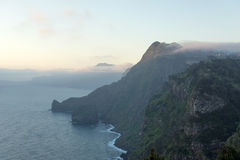 Early misty morning with sea and mountain views Royalty Free Stock Photos