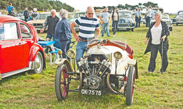 Early Morgan 3 wheeler. Sports car on show at Roseisle Vintage Rally held on 22nd September 2013 Royalty Free Stock Photos