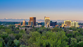 Early moring sinlight on the city of Boise Idaho. Moring first light on Boise Skyline in spring Royalty Free Stock Photo