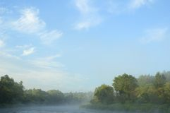 Early morning. On  bank of the river Royalty Free Stock Images