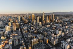 Early Morning Aerial Downtown Los Angeles Royalty Free Stock Photos