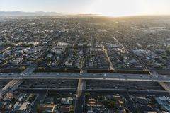 Los Angeles Harbor 110 Freeway at 52nd Street. Early morning aerial view of the double decked Harbor 110 Freeway at 52nd Street south of downtown Los Angeles in Stock Photos