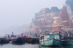 Early morning at Ahilya Ghat in holy Ganges River,Benares,India Royalty Free Stock Images