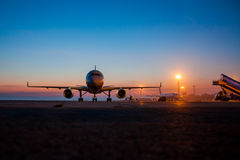 Early morning airport apron. Early morning summer airport apron Stock Photo