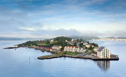 Early morning landscape, Alesund - Norway - Scandinavia. Photo was taken from upper deck of cruise ship at entrance to harbor Alesund Royalty Free Stock Photos