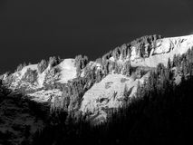 Early morning alpineglow (black & white) Royalty Free Stock Photography