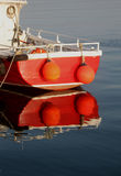Early Morning, Amble Harbour, Red boat Stock Photography