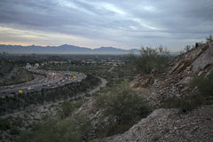 Early Morning Arizona Desert Overlooking Highway to Phoenix Royalty Free Stock Images
