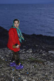 Early morning arrivals refugees at Lesvos. Mytilini, Lesvos, Greece, 25-February-2016: Early morning arrivals refugees at Lesvos. After they flee from their Stock Photo