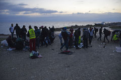 Early morning arrivals refugees at Lesvos. Mytilini, Lesvos, Greece, 25-February-2016: Early morning arrivals refugees at Lesvos. After they flee from their Royalty Free Stock Photography