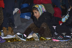 Early morning arrivals refugees at Lesvos. Mytilini, Lesvos, Greece, 25-February-2016: Early morning arrivals refugees at Lesvos. After they flee from their Stock Image
