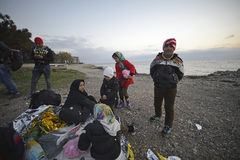 Early morning arrivals refugees at Lesvos. Mytilini, Lesvos, Greece, 25-February-2016: Early morning arrivals refugees at Lesvos. After they flee from their Royalty Free Stock Image