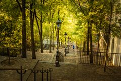 Free Early Morning At The Montmartre Steps, Paris, France On A Sunny And Warm Morning In Autumn Stock Image - 183652621