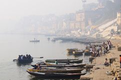 Early morning at Banaras holy Ghats, Ganges River,India Stock Photo