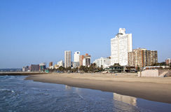 Early Morning Beach and Durban City Skyline Stock Photography