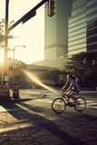 Early morning biking Stock Photos