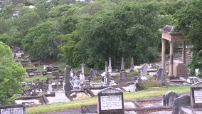 Early morning birdsong at the top of a hillside cemetery. This cemetery was the first official cemetery in the city of Brisbane Australia, with the first grave stock video