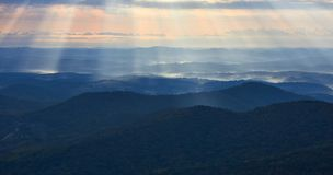 Early morning in the Blue Ridge mountains of Virginia stock image