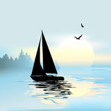 Early morning with a boat Royalty Free Stock Photo