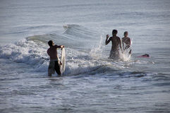 Early Morning Boogie Boarders Royalty Free Stock Image