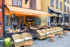 Early morning in cafe. Gamla Stan. Sweden. Stockholm Royalty Free Stock Images