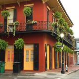 Early morning calm in the French Quarter. Bourbon Street in New Orleans becoming a sea of calm in the early morning hours Stock Photography