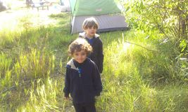 Early morning camping stock photos