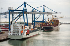 Early morning in cargo seaport Royalty Free Stock Images