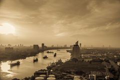 Early morning on chaophraya river Bangkok Thailand Royalty Free Stock Photography