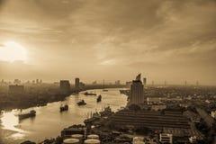 Early morning on chaophraya river Bangkok Thailand. Cityscape with sun dawn at bangkok, Thailand beside Chaophraya river Royalty Free Stock Photography