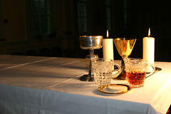 Early Morning in the Chapel 2. The altar is lit by the early morning sunlight stock image