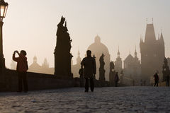 Early morning on Charles Bridge Stock Images