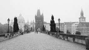 Charles Bridge in Prague. Early morning, Charles Bridge in Prague Royalty Free Stock Images